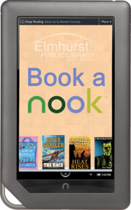 Image of a Nook Reader with the Elmhurst Public Library Logo and the text Book a Nook
