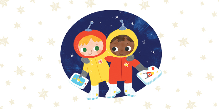 cartoon image of two children dressed as astronauts