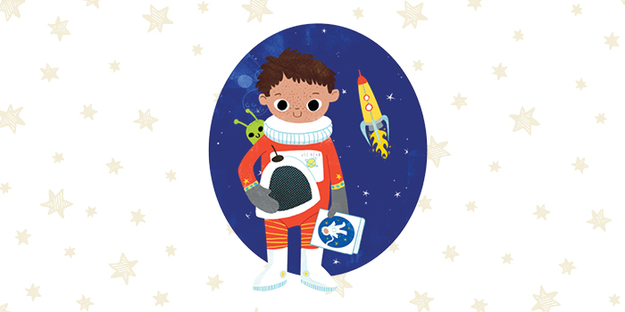 cartoon image of boy dressed as astronaut in front of a field of stars