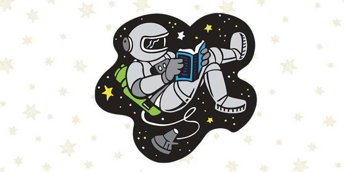cartoon of astronaut reading in space
