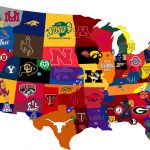 Partial map of USA with colleges