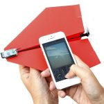 paper airplane drone with motor and cell phone
