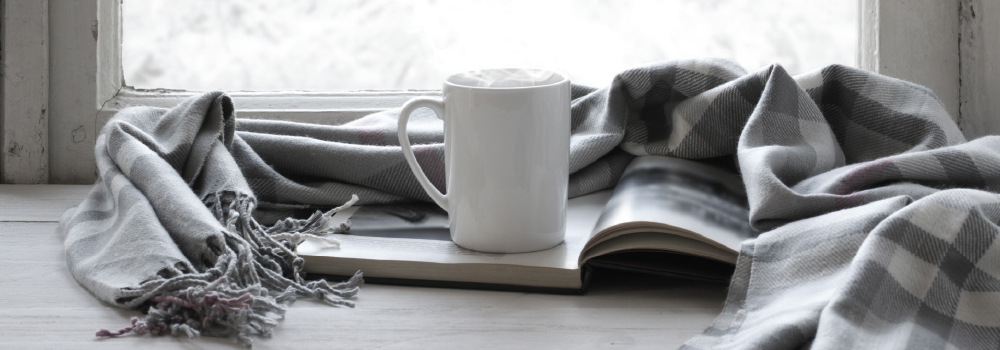 winter scarf book and warm drink