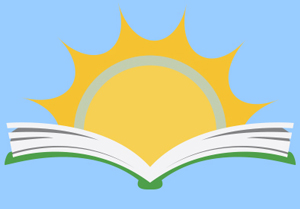 Adult sumer reading logo a sun rising out of a book