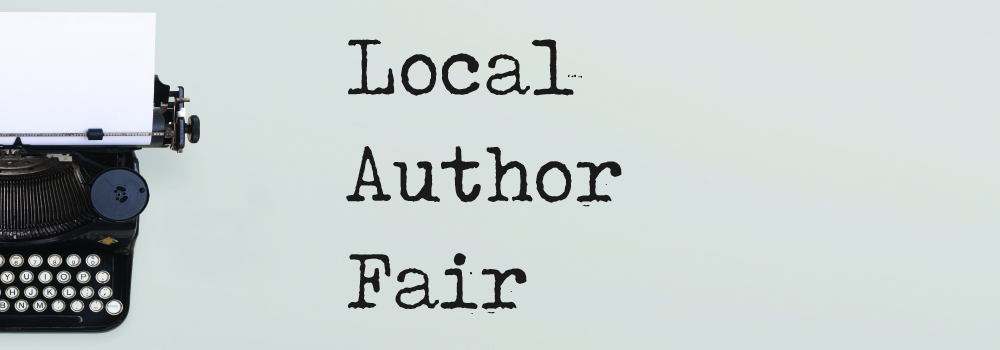 local author fair with typewriter on grey background