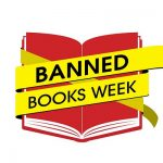 Banned Books Week yellow tape over red book