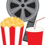 popcorn, soda, movie reel