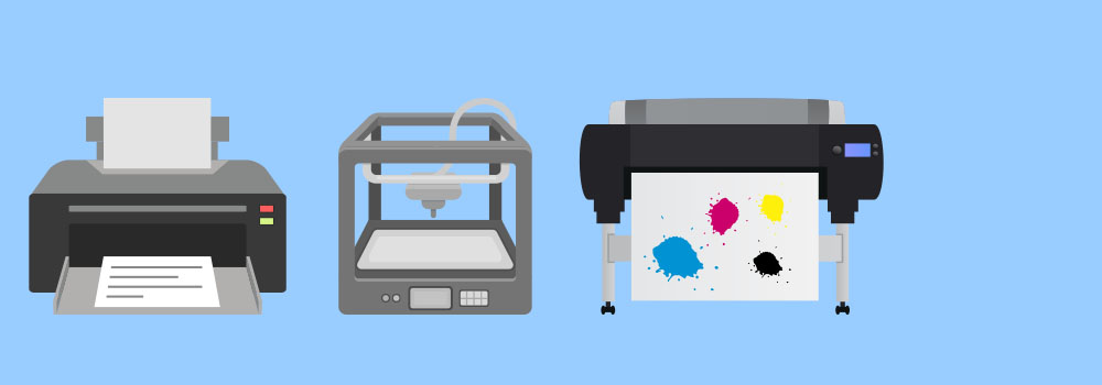 printer 3d printer and poster printer on blue background