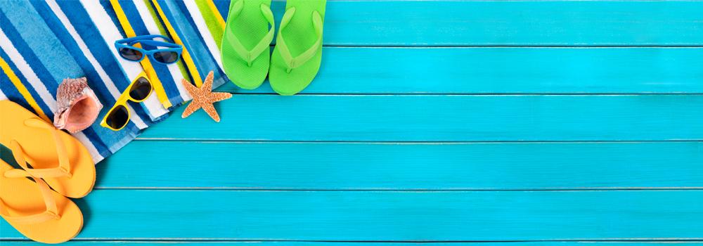 flip flops on blue boards